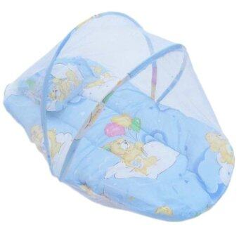 Yika Small Infant Baby Mosquito Insect Net Tent Mattress Cradle BedCanopy Cushion Pillow Set S (Blue)