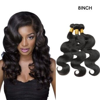 Harga 1 Bundle Body Long Curly Wave Lace Closure Human Hair Wig 8 Inch