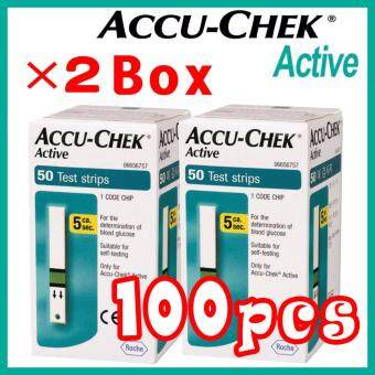 Harga ?100pcs? 05 / 2018 or later Roche Accu Chek Active Test Strips (50Tx2 Box)