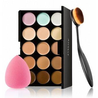 Harga 15 Colors Make Up Cream Facial Camouflage Concealer Make Up Palette with Sponge Puff Oval Makeup Brush for Cosmetic Foundation Powder