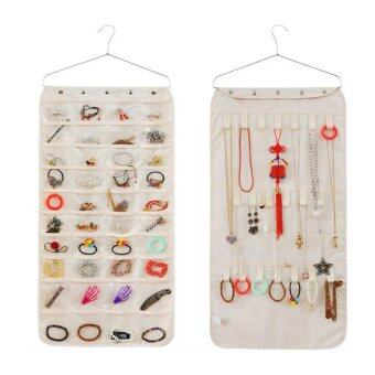 Harga 2 Sided Hanging Jewellery Storage Pockets Door Wall Wardrobe ClosetTidy For Earrings Necklace Bracelet Jewelry Display Organizer RackHolder Storage Bag, Beige