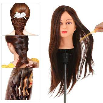 "Harga 24"" 30% Real Human Hair Dummy Head Hairdressing Training Head Salon Head + Clamp Holder Practice Head Hairdressing Practice Tool"