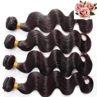 "Harga 4Bundles(8""10""12""14"") Virgin 6A Peruvian Human Hair Body WaveExtensions Weave"