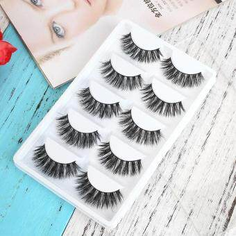 Harga 5 Pairs Fake Eye Lashes 3D Mink Handmade Long Thick False EyelashesExtension