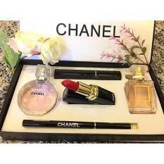 chanel 5 gift set. chanel 5 in 1 gift set-makeup perfume set box in mascara \u0026 lipstick eyeliner pencil (best set) o