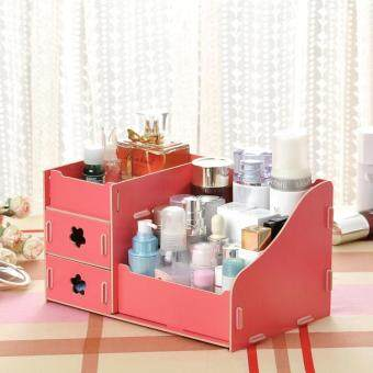 DIY Wood Jewelry Storage Box Cosmetic Make up Organizer, Size: 21 x14 x 11cm - Watermelon Red