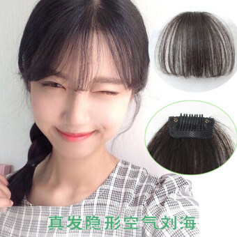 Harga Fantastic Flower Cute Short Neat Bangs Clip on Front Neat BangFringe Clip In Hair Extensions -Light black