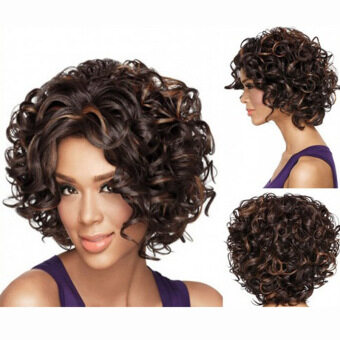 Harga Full lace wigs human wavy hairs brown wig female short hair fluffywig