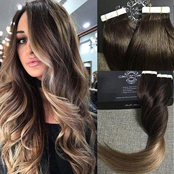 Full Shine 18 Tape Ombre Hair Extensions Remy Hair Extensions Human