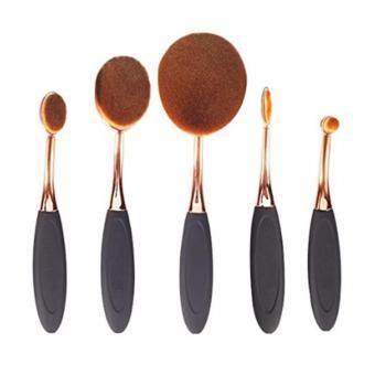 Hanyu NEW Toothbrush Shape Oval Makeup Brush Foundation PowderEyebrow Make up Brushes Beauty Tools 5PCS/set + Opp Bag Rose gold