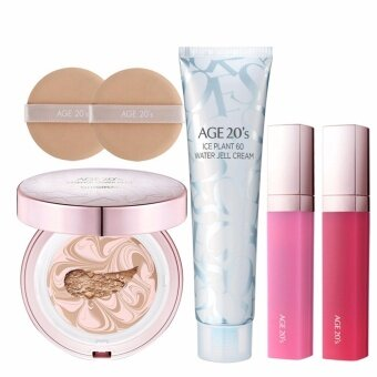 Harga [AGE 20's] Essence Cover Pact #13 PINK LATTE ( 1 Case + 2 Refills + 2 Puffs + 1 Ice Plant 60 Water Jell Cream + 1 Tint ) / Made in Korea