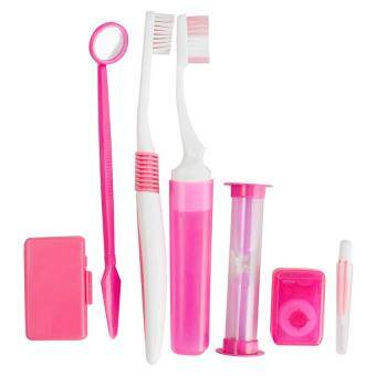 Harga Vinmax Dental Orthodontic Oral Care Kit Tool Interdental Brush Floss Oral Clean Toothbrush (Pink)