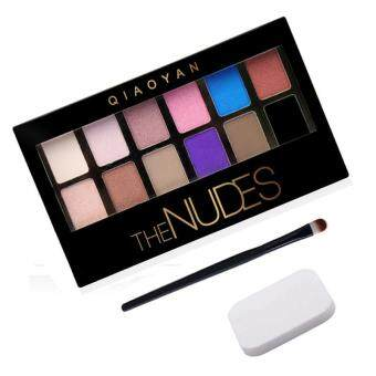 Harga New Cosmetic Matte Eye Shadow 12 Colors Make Up Set Nudes Naked Pallete Eyeshadow Palette Brighten+Puff+Eye Shadow Brush