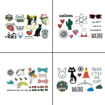 Harga 4 PCS Animal Temporary Tattoo Sticker For Kid Fake Tattoo Body Art WY-062