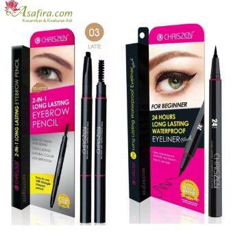Harga Chriszen 24H Waterproof Eyeliner Black (1 Unit) + Chriszen 2 in 1 Eyebrow 03 Latte (1 Unit)