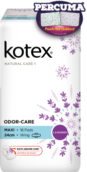 Harga Kotex Natural Care 24cm Wing 16s x 1 Lavender FOC Pouch