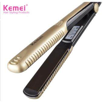 Harga UPGRADE ORIGINAL Kemei New Hair Straightener Professional Hairstyling Portable Ceramic Hair Straightener Iron ,Ideal For Saloon. (Gold)
