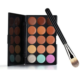 Harga Professional 15 Colors Camouflage Concealer Make Up Cream Palette with A Make Up Foundation Brush