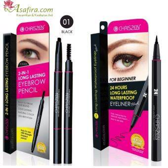 Harga Chriszen 24H Waterproof Eyeliner Black (1 Unit) + Chriszen 2 in 1 Eyebrow 01 Black (1 Unit)