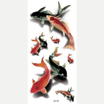 Harga 4 PCS Wyuen Carp Fish Tattoos Sticker Body Art 3D-29