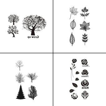 Harga 4 PCS Flower Tree Waterproof Tattoo Sticker For Women Fake Tattoo Body Art WY-073