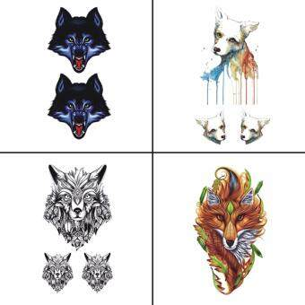 Harga Wyuen 4 PCS Wolf Dog Temporary Tattoo Waterproof Tatoo Sticker Body Art Fake Tattoo Woman WY-004