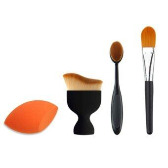 Harga Cosmetic Makeup Brush Toothbrush Oval Makeup Brush Blush Brush Makeup Sponge Puff 4 Pcs set