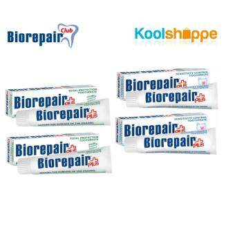 Harga Biorepair Plus Sensitivity Control ​100 ML x 2 + Biorepair Plus Total Protection 100ML x 2 - Teeth Protection Toothpastes (Value Pack)
