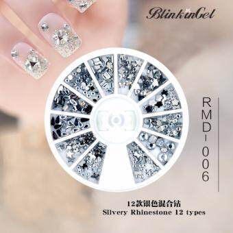 Harga BlinkinGel RMD006 Silvery Rhinestone 12 types Nail Decor Sterling Silver Jewelry Nail Charms Strass Adesivo used in Nail Salon