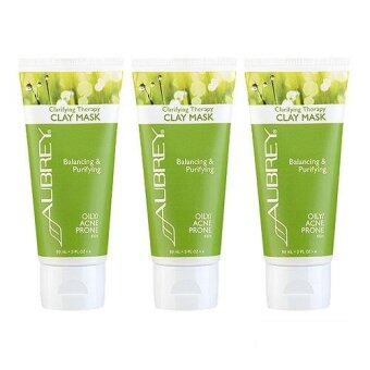 Harga 3 x Aubrey Organics Clarifying Therapy Clay Mask (Oily/Acne Prone Skin) 3oz, 89ml