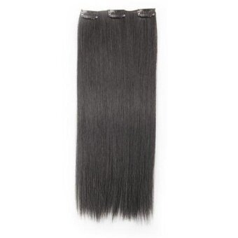 "Harga HB Generic 8 Pcs 20"" #1 Jet Black Straight Full Head Clip In Synthetic Hair Extensions"