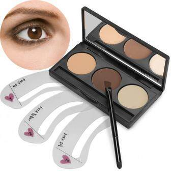 Harga WONDERSHOP ACEVIVI 3 Colors Eyebrow Powder Eye Brow Palette With 3 PCS Eyebrow Stencils Set ( Type 1 )