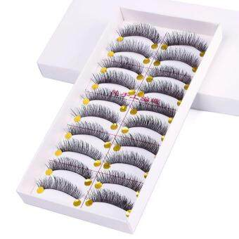 Harga BUYINCOINS 10 Pairs Black Handmade Natural Long False Eyelashes 058