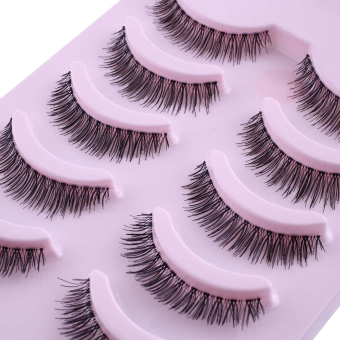 Harga Women 5 Pairs Natural Thick Eye Lashes Cosmetics Long False Eyelashes