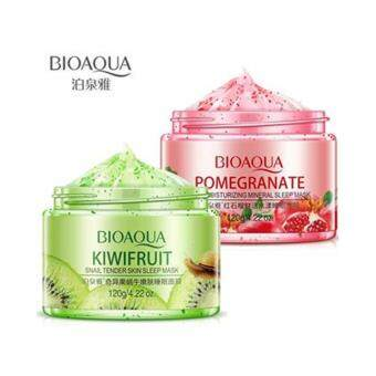 Harga (COMBO) Bioaqua Kiwifruit Snail Tender Skin Sleep Mask + Pomegranate Fesh Moisturizing Sleep Mask