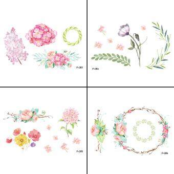 Harga 4 PCS Flower Waterproof Temporary Body Art Tattoo Sticker WY-041