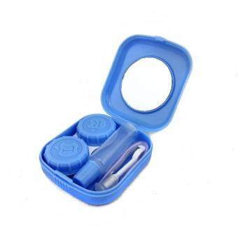 Harga Mini Contact Lens Case Travel Kit Portable Mirror Container Holder (Blue)