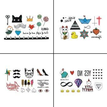 Harga 4 PCS Animal Temporary Tattoo Sticker For Kid Fake Tattoo Body Art WY-064
