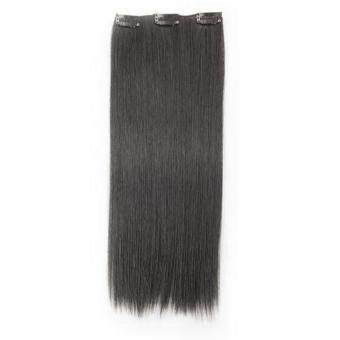 "Harga Generic 8 Pcs 20"" #1 Jet Black Straight Full Head Clip In Synthetic Hair Extensions"