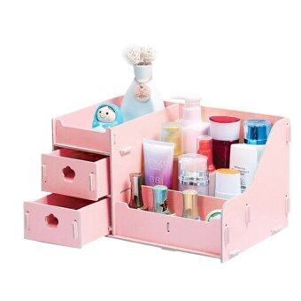 Harga Wooden DIY Stationary Cosmetic Organiser Storage Drawer-Pink