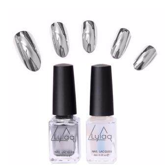 Harga 2pcs Metallic Polish Professional Gel Nails Silver Gel Nail Varnishes Metal Glue Gel Top And Base Coat Gel Nail Polish