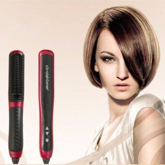 Harga Anion Hair Straightener and Hair Curling 2 in 1 Iron Comb Hair Brush Electrical Ceramics Anion locking Moisture PTC Heating Red