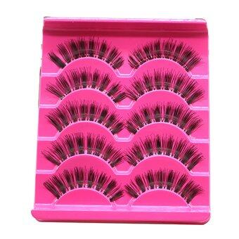 Harga Cocotina Handmade Thick Fake False Eyelashes Natural Long Eye Lashes Makeup Set 5 Pairs - Purple