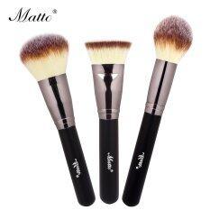 best contour brush. matto 3pcs makeup brushes set powder blush foundation contour brush for beauty make up tools (black) best