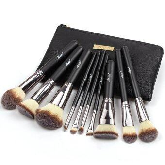 Matto10pcs Makeup Brushes Cosmetics Foundation Make Up Brush ToolsKit for Powder Blusher With Leather Case (Black)