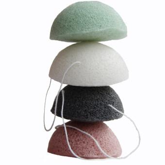 Natural Konjac Jelly Fiber Face Wash Cleanser Sponge PuffExfoliator(Black) - 2