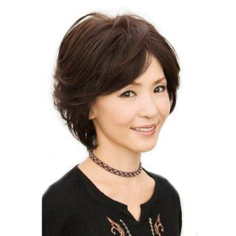 New Short Curly Wavy Full Wig Classic Brown Hairs For Elegant OldWomen's Lady