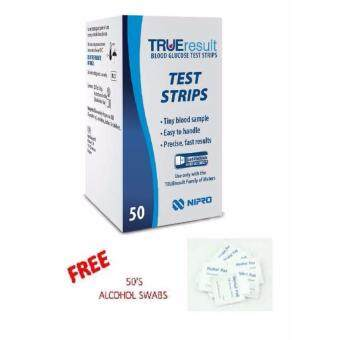 NIPRO TRUE RESULT 50'S GLUCOSE METER TEST STRIP FOC 50s ALCOHOL PADS