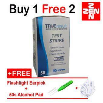 Nipro True Result 50's Glucose Test Strip Free Flashlight Earpick+Alcohol Pad 50's