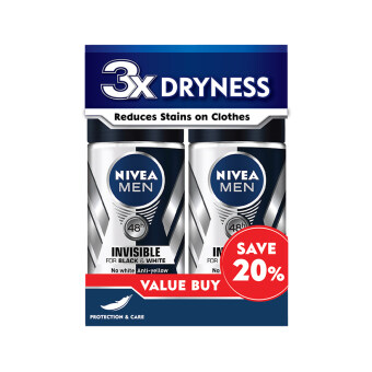 Harga NIVEA FOR MEN Nivea For Men Deodorant Black & White 2X50ML